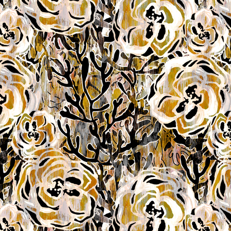 Vienna Deco floral in taupe fabric by joanmclemore on Spoonflower - custom fabric