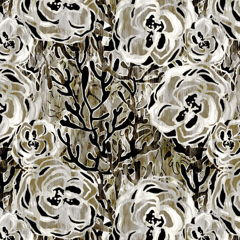 Vienna Deco floral in Smoke fabric by joanmclemore on Spoonflower - custom fabric