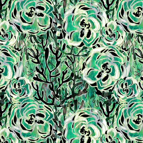 Vienna Deco floral in Jade fabric by joanmclemore on Spoonflower - custom fabric