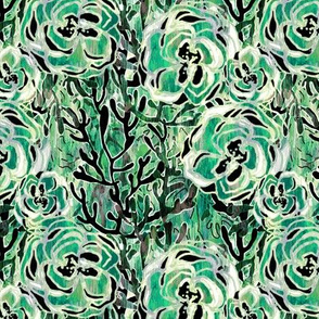 Vienna Deco floral in Jade