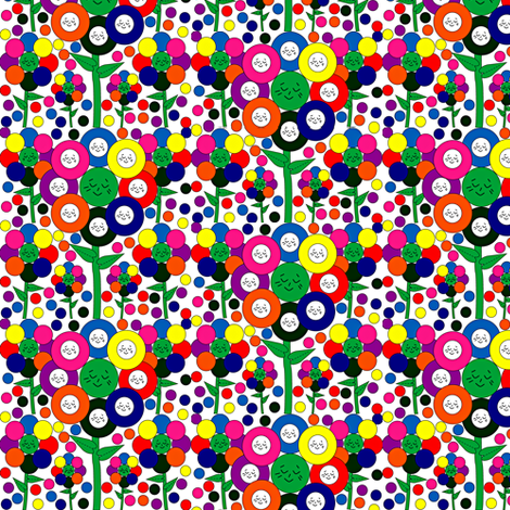 Smiling Flowers Collage Fabric
