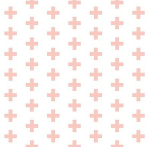 Small Blush Crosses on White - Blush Plus Sign - small version