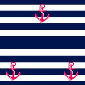 Pink Anchor on Navy Stripe