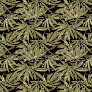 Camo Cannabis Leaf Olive