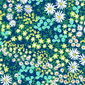 Flower Bed Navy and Turquoise