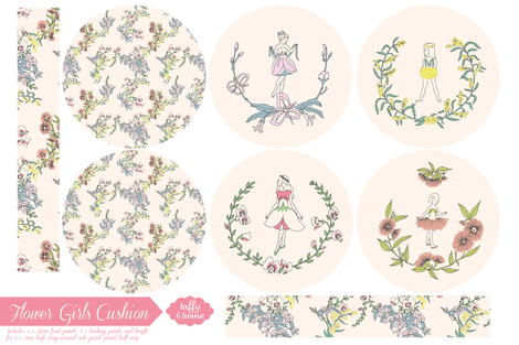Flower Girls Cushion fabric by taffyandtwine on Spoonflower - custom fabric