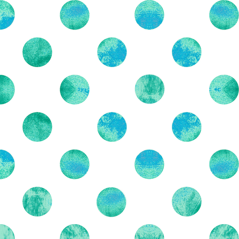 Watercolor Polka Dots In Blue And Green Fabric