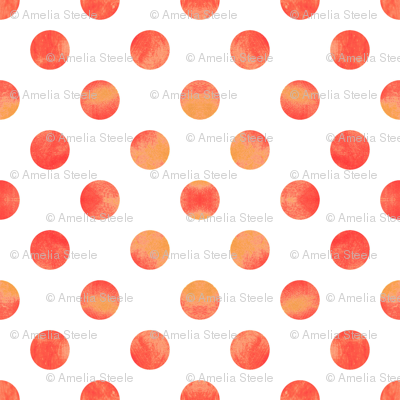 Watercolor Polka Dots in Orange Raspberry