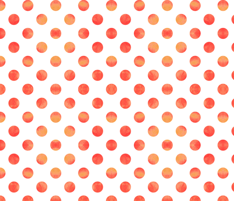 Watercolor Polka Dots in Orange Raspberry fabric by willowlanetextiles on Spoonflower - custom fabric