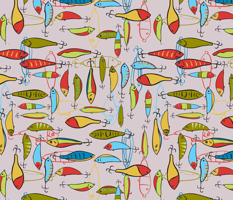 Fishing Lures P1 fabric by creativeallure on Spoonflower - custom fabric