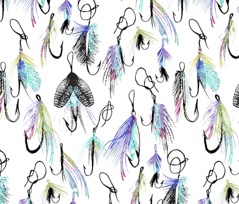 Feather Fly in Watercolor  fabric by emilysanford on Spoonflower - custom fabric