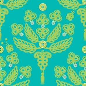 Buttoned-up Damask in bluegreen