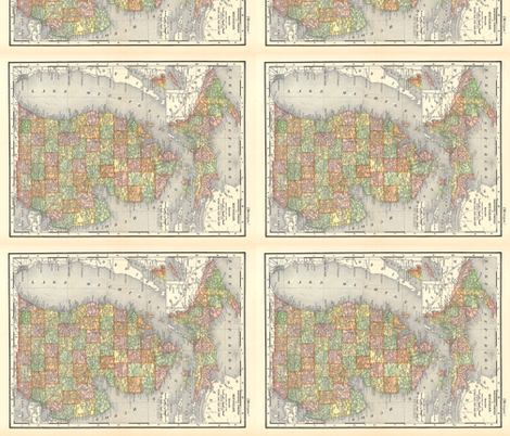 Michigan Counties Map fabric by aftermyart on Spoonflower - custom fabric