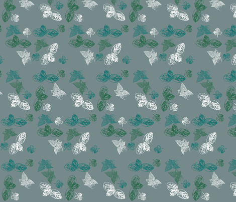 Herbs on grey fabric by designseventynine on Spoonflower - custom fabric