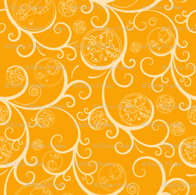 Yellow Scroll Geometric