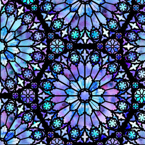 Watercolor Rose Windows (Blue and Purple)