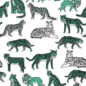 Big Cats - Seafoam Green/White by Andrea Lauren