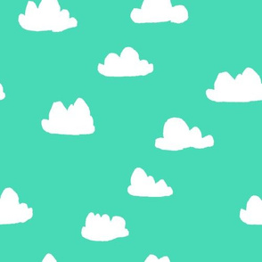 clouds //  bright neon jade green for colorful rad kids rooms