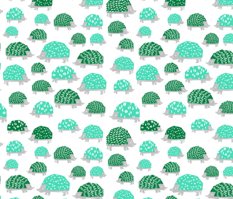 Hedgehogs - Light Jade/Kelly Green by Andrea Lauren fabric by andrea_lauren on Spoonflower - custom fabric