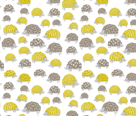 Hedgehogs - Goldenrod/Silver Grey  by Andrea Lauren fabric by andrea_lauren on Spoonflower - custom fabric