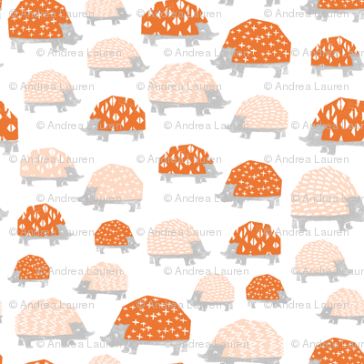 Hedgehogs - Blush/Orange by Andrea Lauren