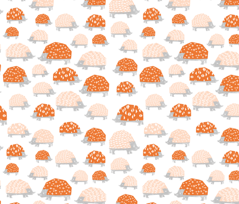 Hedgehogs - Blush/Orange by Andrea Lauren fabric by andrea_lauren on Spoonflower - custom fabric