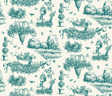Garden Toile - Teal fabric by katetortland on Spoonflower - custom fabric