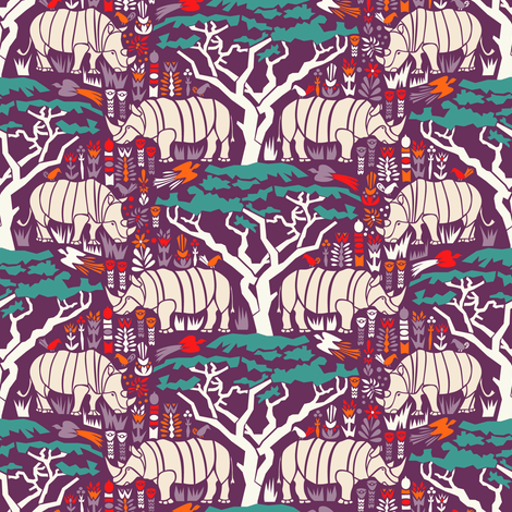 Rhinoceros  fabric by mag-o on Spoonflower - custom fabric