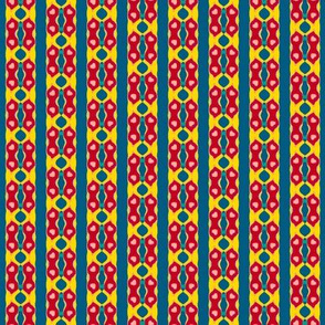 Folk Art Stripe 2   -Red and Yellow on Teal