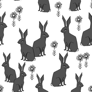 Rabbits - Charcoal/White by Andrea Lauren