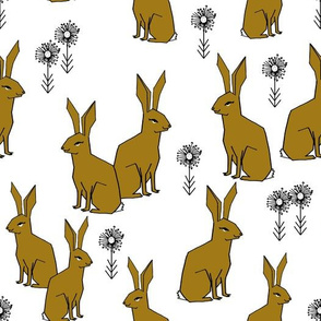 Rabbits - Ochre/White by Andrea Lauren