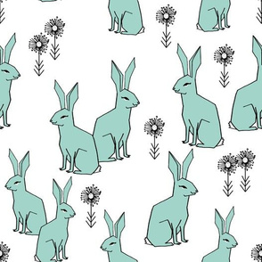 Rabbits - Pale Turquoise/White by Andrea Lauren