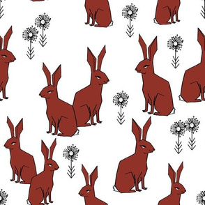 Rabbits - Red Oxide/White by Andrea Lauren