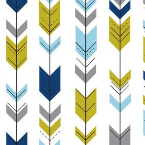 Fletching arrows // boy blue/citron