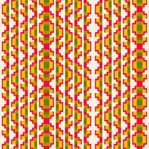 Folk Art Stripe 3    -Red, Yellow, Olive, and Green on Off-White