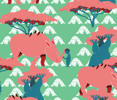 The Rhino and The Boy fabric by davidhenson on Spoonflower - custom fabric