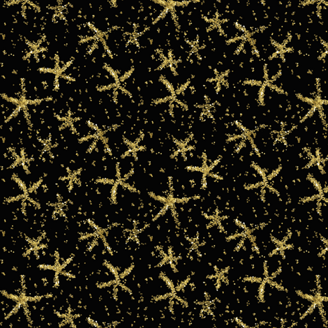 Sparkly stars on lamp black fabric by su_g on Spoonflower - custom fabric