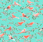 Sweet Songbird in Pink and Turquoise