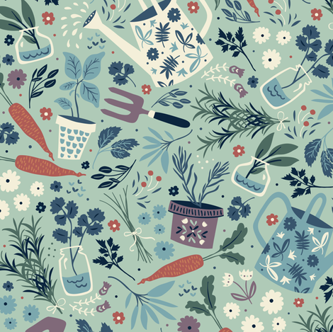 Garden Herbs fabric by annadeegan on Spoonflower - custom fabric