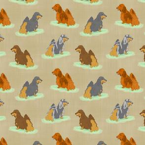 Standing Longhaired Dachshunds - tan linen