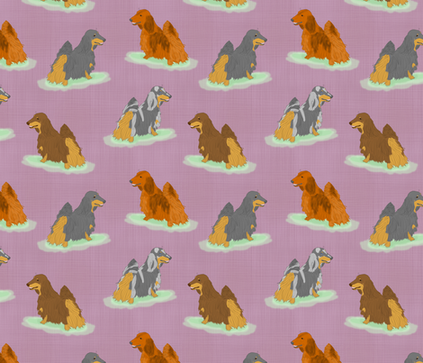 Standing Longhaired Dachshunds - purple linen
