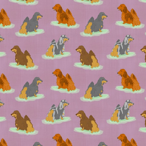 Standing Longhaired Dachshunds - purple linen