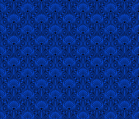 Blue Nouveau  fabric by whimzwhirled on Spoonflower - custom fabric