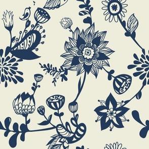 Navy floral doodles