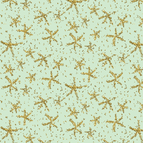 Sparkly stars on pale mint fabric by su_g on Spoonflower - custom fabric