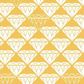 white facet diamonds on mustard