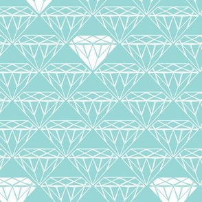 white line diamonds on aqua
