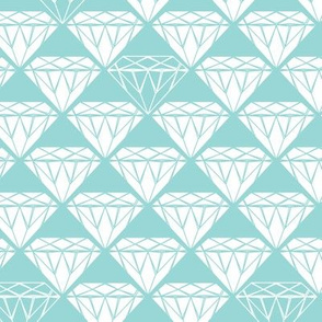 white facet diamonds on aqua