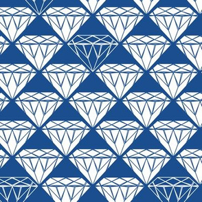 white facet diamonds on blue