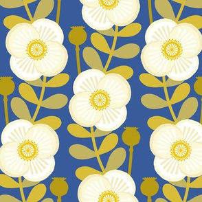 poppy stem - cream on blue